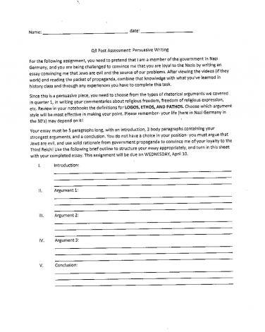 School writing assignment Nazi Jews