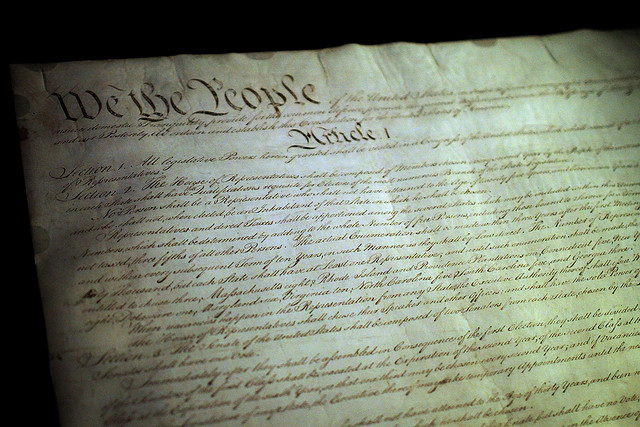 Photo of the US Constitution taken in the rotunda of the National Archives photo Mr. T in DC via Flickr