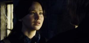 tearful Jennifer Lawrence as Katniss