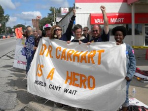 Dr LeRoy Carhart is the subject of an undercover video on abortion, Pictured are some of his supporters