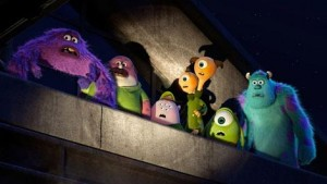 Art, on the far left, is voiced by Charlie Day in the Pixar film 'Monsters University'