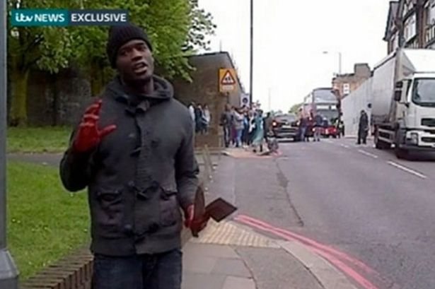 Woolwich-Attacker bloody knife hatchet