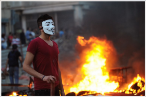Occupy Taksim protester Guy Fawkes mask