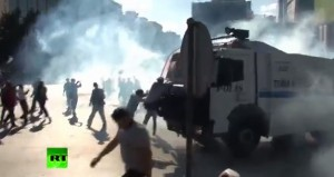 Turkey protesters and police clash photo screenshot RT video, see below