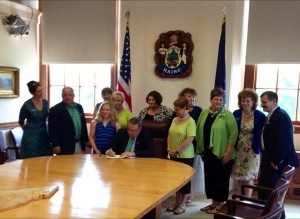 Governor Paul LePage signs LD597 into law today Image/Maine.org Facebook