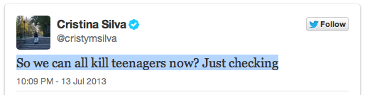 Cristina Silva AP reporter tweet kill teenagers