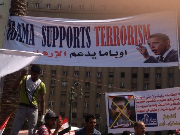 Obama supports terrorism protest Egypt