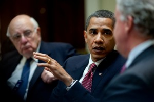 President Barack Obamaa, flanked by Paul Volcker, left, and General Electric Chief Executive Officer Jeffrey Immelt, right, comments during the Economic Recovery Advisory Board meeting in the Roosevelt Room of the White House. 2009 photo Pete Souza, White House photo