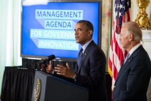 President Barack Obama, with Vice President Joe Biden, delivers a statement on management agenda for his second term, in the State Dining Room of the White House, July 8, 2013. (Official White House Photo by Pete Souza)  .