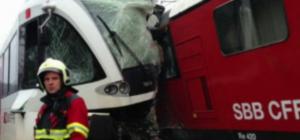 Swiss train crash two collide