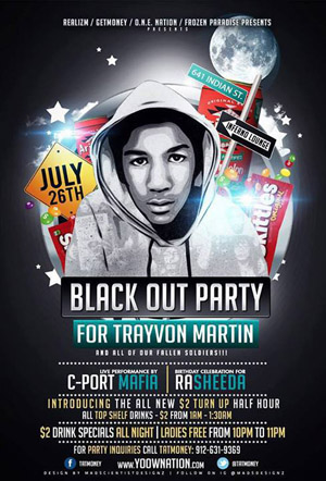 Trayvon Martin Blackout Party fallen soldiers poster