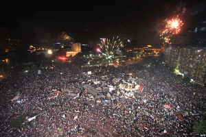 Twitter photo of fireworks as Egypt protesters are gathered, removing President Morsi