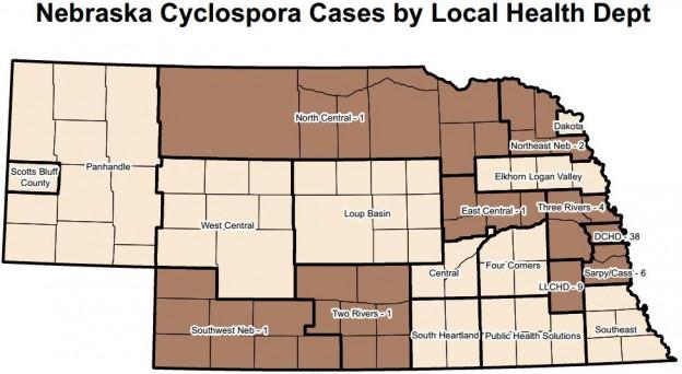 Nebraska Cyclospora Cases by Local Health Dept map