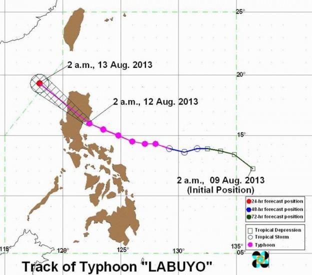 Typhoon Utor (Labuyo) projected path Image/PAGASA