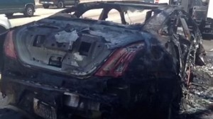 Dick Van Dyke's Jaguar after a car fire photo: screenshot from Vine posted by Van Dyke's wife