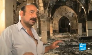 Screenshot of video coverage by France 24 of a church destroyed in Egypt by Muslim Brotherhood