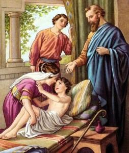 Elisha raising the Shunammites Son pre 1923 Bible card via wikimedia commons