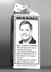 Lindsey Graham Missing Milk Carton Image/CCU