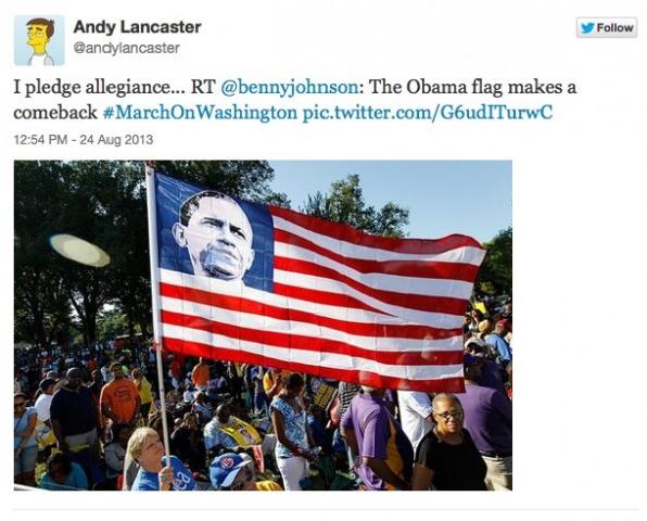 Obama flag at March on Washington rally