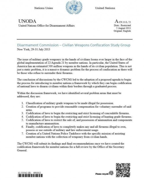 UNODA weapons ban memo from 2013