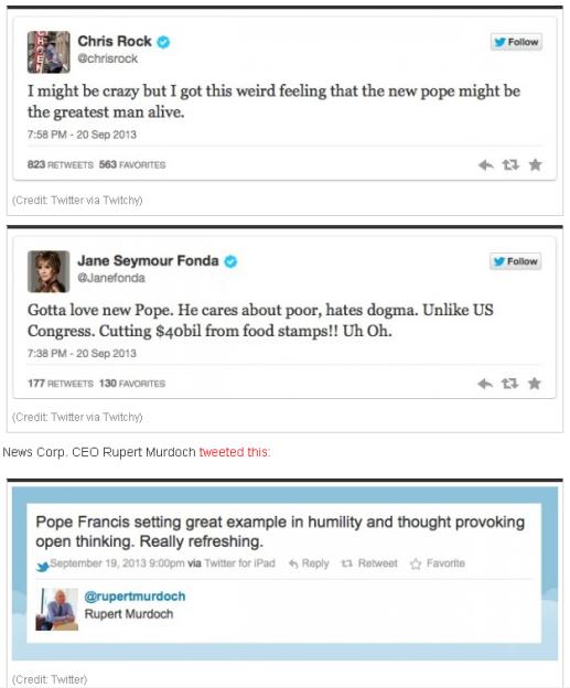 Celebs CHris Rock Jane Fonda Rupert Murdoch praise Pope Francis