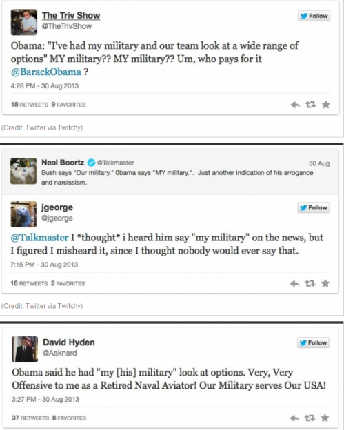 Obama twitter response my military comment