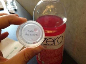 You Retard Coca Cola VItamin water cap