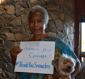 Alice Walker showing support for Edward Snowden Image/PCJF