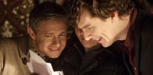 sherlock season 3 set photo Martin Freeman Benedict Cumberbatch smiling