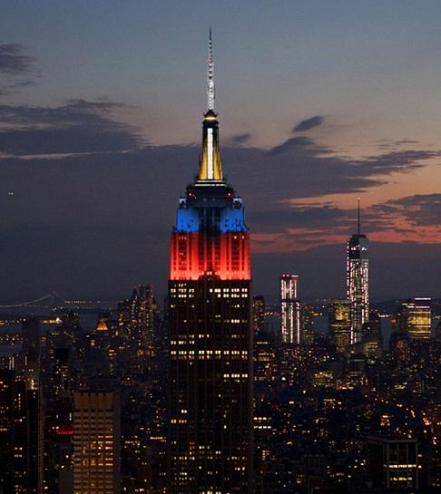The Empire State Bldg lights up with the colors of the Philippines flag Image/empirestatebldg instagram