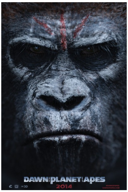 Dawn of the Planet of the Apes poster up close gorilla