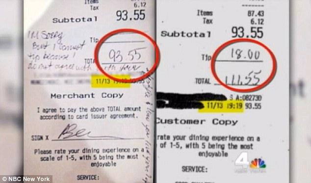 Gay waitress anti-gay comment hoax photo