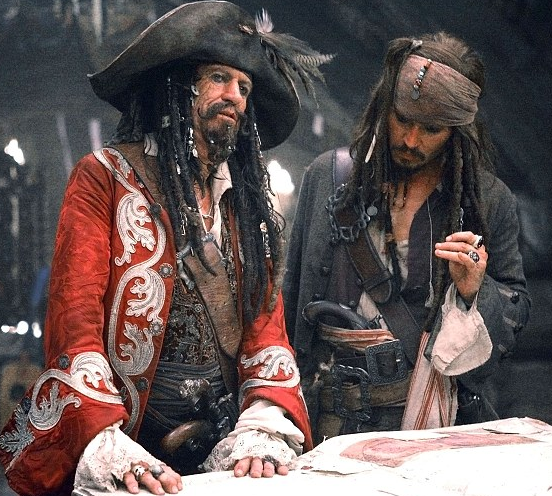 Keith Richards Johnny Depp Pirates of the Caribbean At Worlds End photo