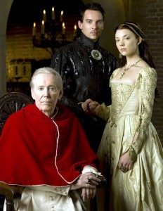 Peter O'Toole as Pope Paul III in The Tudors, alongside Jonathan Rhys Meyers as Henry VIII and Natalie Dormer as Anne Boleyn