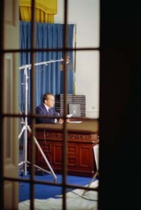 President Nixon delivers an Address to the Nation from the Oval Office responding to subpoenas for the White House Tapes with edited transcripts.