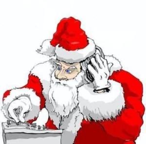Santa Claus listening music DJ Santa