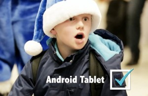 child surprised android tablet gift
