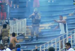 twitter photo of violence at a soccer match in Brazil