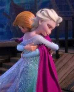 Frozen princesses hug one another