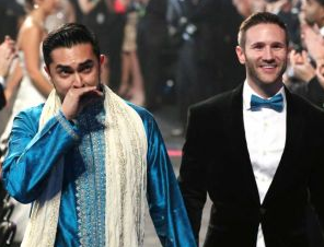 Gay weddings at Grammy Awards, screenshot Fox video coverage from Staples Center