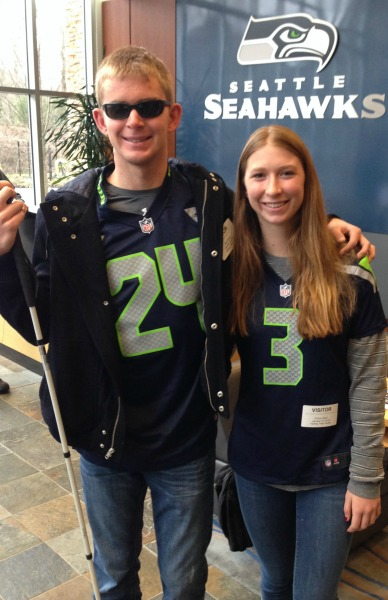 Jake Olson and Emma visit seattle Seahawks