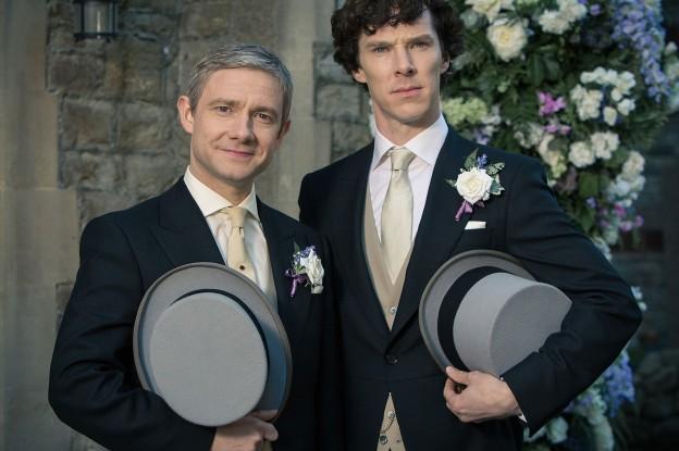 Martin Freeman Benedict Cumberbatch Watson Sherlock wedding photo