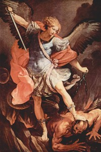 Michael defeating Satan painting by Guido Reni circa 1636