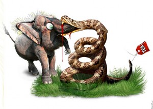 GOP elephant Tea Party snake biting