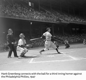 Hank Greenberg hitting a third inning homer against the Philadelphia Phillies, April 29, 1947 Donated by Corbis