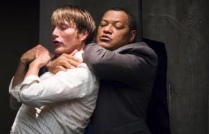 Hannibal season 2 Mads Mikkelsen battling Laurence Fishburne