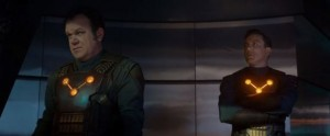 John C. Reilly and Peter Serafinowicz as members of Nova Corps