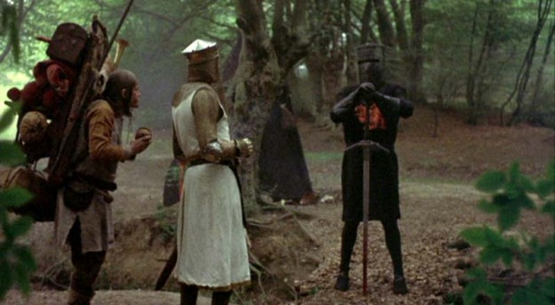 Monty Python and the Holy Grail battle the black knight