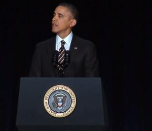 President Obama speaking at the National Prayer Breakfast 2014, screenshot from Whitehouse.gov video