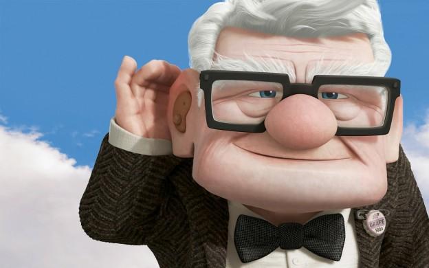 "Carl Fredricksen, voiced by Ed Asner, in Pixar's ""UP"""